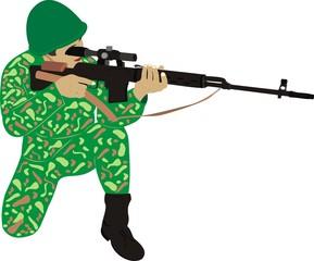 Fotorolgordijn Militair Солдат с винтовкой