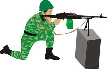 Fotorolgordijn Militair Стрелок с пулеметом
