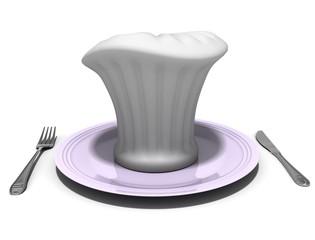 повар на блюде