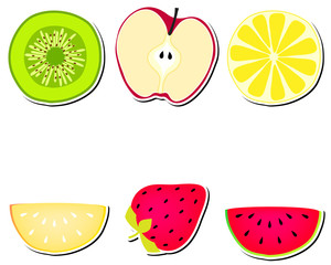 Cute stickers with fruits