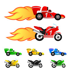race car and motorcycle. Different colors