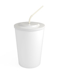 Blank white cup with straw, isolated on white, clipping path