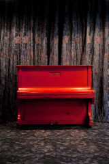 Vintage red piano