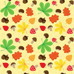 Autumn seamless pattern with nature elements