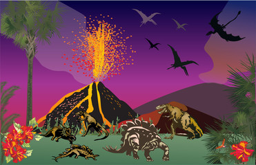 dinosaurs in forest near volcano