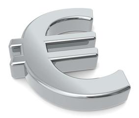 EUR. 3D Euro symbol. Silver color