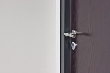 brauen Holz-Tür und moderner Türgriff