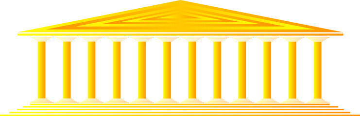 Greek temple on white background - vector