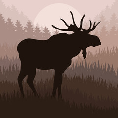Animated moose in wild nature landscape illustration