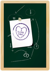 love concept,stamped note on blackboard: I love you
