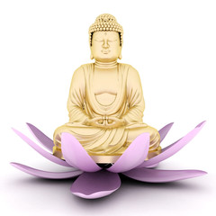 image of a gold statue of Buddha and a lotus flower