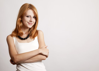 Closeup portrait of cute young redhead business woman