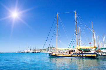 Wonderful yacht in blue bay near Bodrum town.