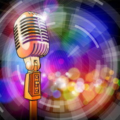 Gold microphone & radial color background