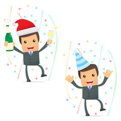 funny cartoon businessman celebrating the holiday