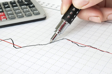 hand with pen drawing graph and calculator