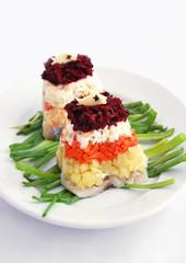 "Traditional russian salad ""Herring under fur coat"""