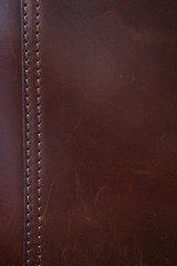 Deurstickers Leder Dark Brown Leather Stitching