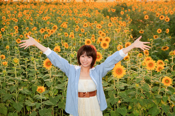 Princess MAIKO Benicio with Sunflower / Summer Flower in JAPAN