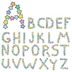 alphabet from multicolored stars vector