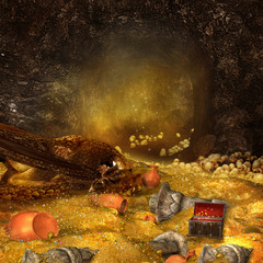Smok śpiący na skarbie w jaskini