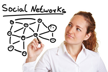 Geschäftfrau zeichnet soziale Netzwerke nach