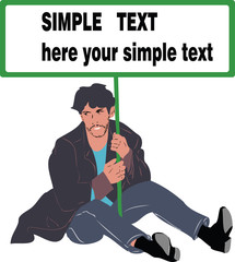 man sitting on the floor with a poster in hands
