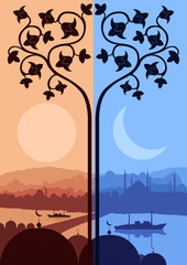 Vintage turkish city Istanbul landscape night and day