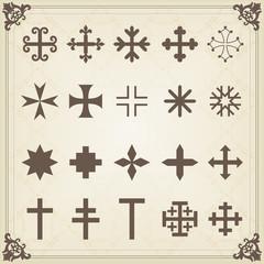 Vintage heraldic cross symbols and elements illustration