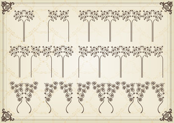 Vintage floral frames and elements background illustration