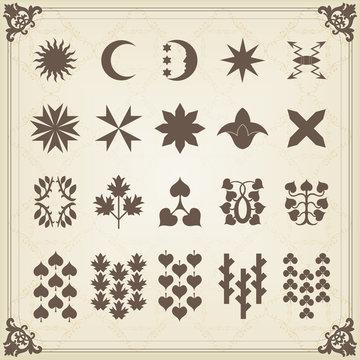 Vintage heraldic mythology symbols and elements illustration