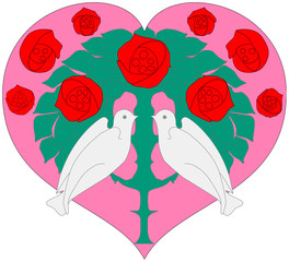 fashionable love concept, heart with two doves and red roses