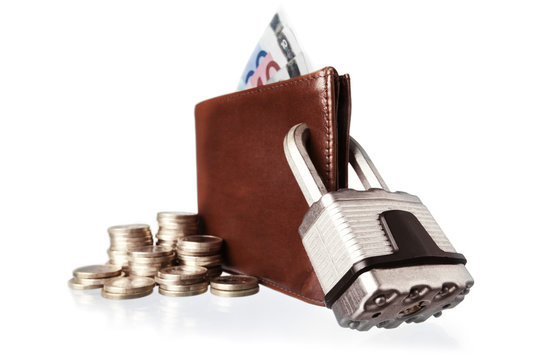 Brown purse locked with padlock.