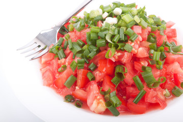 Tomato salad with spring onion