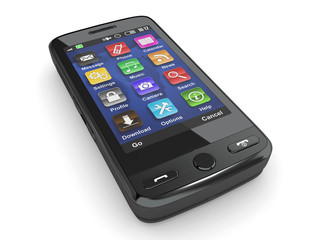 Black mobile phone. 3d