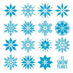 15 Snowflakes Blue