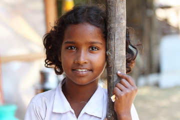 Portrait of attractive Indian Village Girl Wall mural
