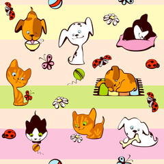 Door stickers Cats children's wallpaper. pets background