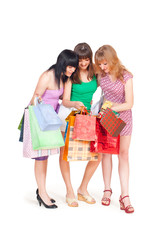 Three girls with shopping