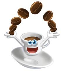 tazzina e chicchi caffè