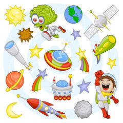 Foto op Plexiglas Kosmos Cartoon outer space set