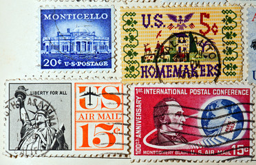 collection of postage stamps from the USA