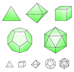 Platonic solids with green surfaces. Regular, convex polyhedrons in Euclidean geometry. Tetrahedron, hexahedron, octahedron, dodecahedron and icosahedron. Isolated illustration on white background.