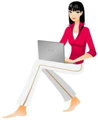 Side view of woman holding laptop