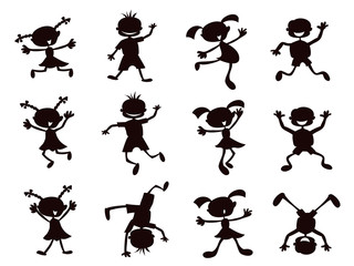 black cartoon kids silhouette