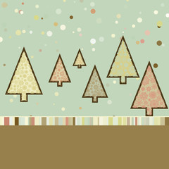 Retro Christmas card with cute trees. EPS 8