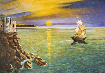 Sailing ship and castle