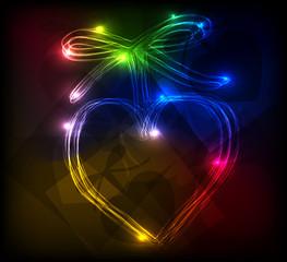 Heart neon light background, easy editable