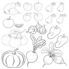 Vegetables and fruits, outline, set