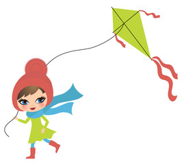 Little cute girl playing with a kite